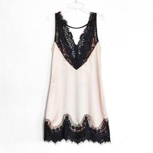 NWT LF Seek the Label Cream Satin Black Lace Dress